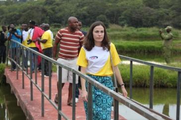 Majiamaji Selebuka Ambassador from Mississippi America- Anna Schwartz in local tourism at LUHILA UVUVI